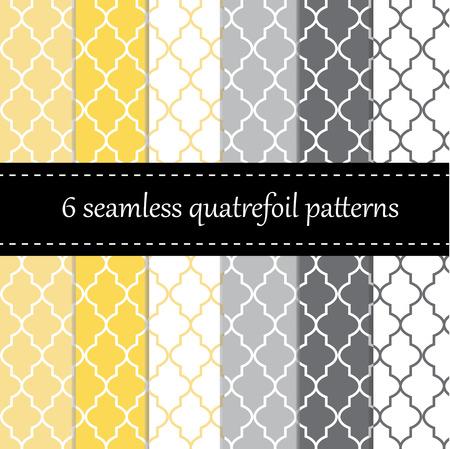 灰色背景: 四葉、シェブロンと水玉模様で 12 のシームレスな幾何学模様
