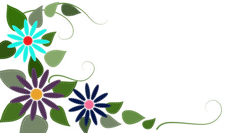 stitched: Stitched flowers and leaves on an isolated white background