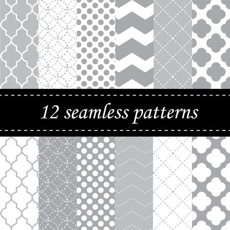 Twelve seamless geometric patterns with quatrefoil, chevron and polka dot designs