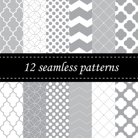 grey: Twelve seamless geometric patterns with quatrefoil, chevron and polka dot designs