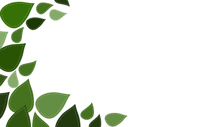 Stitched Leaves in shades of green isolated on white