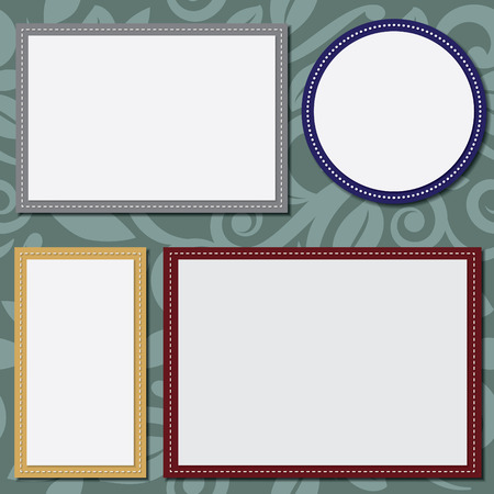 stitched: circle and square template for text or photos, rectangles in 4x6 and 5x7 size. Scrapbooking template