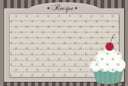 Retro cupcake recipe card, dashed lines for text