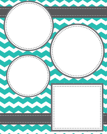 stitched: Circle and squares template with ribbons and chevron background, room for copy space