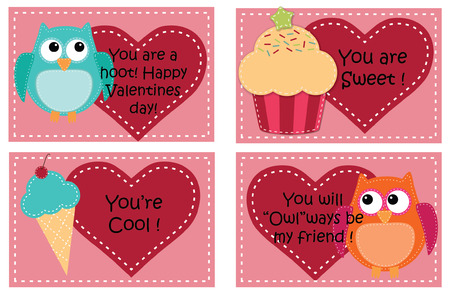 Four valentine card templates with owls, cupcakes and ice cream cones  Ilustração