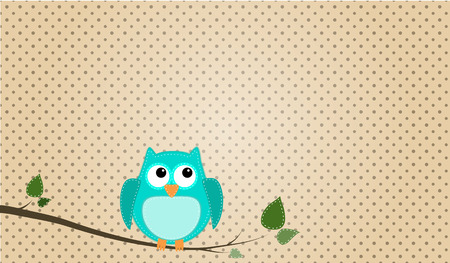 brown: Blue stitched owl sitting on a branch with a polka dot background
