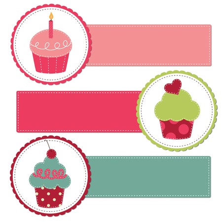 Cupcakes on a retro template copy space for text and scrapboooking, transparent background Vector