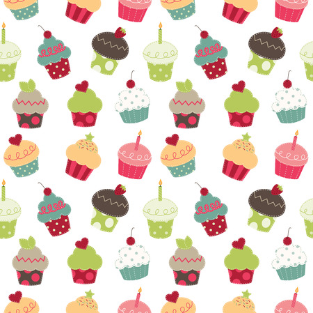 Retro cupcakes seamless pattern, transparent background Vector