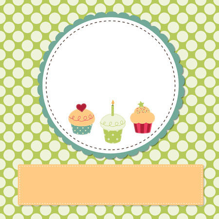 yellow heart: Cupcakes on a retro template copy space for text and scrapboooking