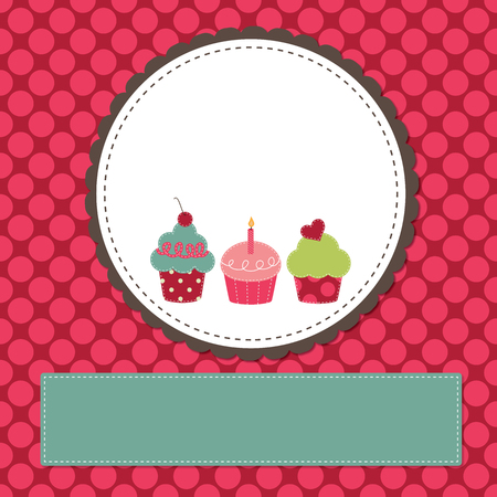 Cupcakes on a retro template copy space for text and scrapboooking