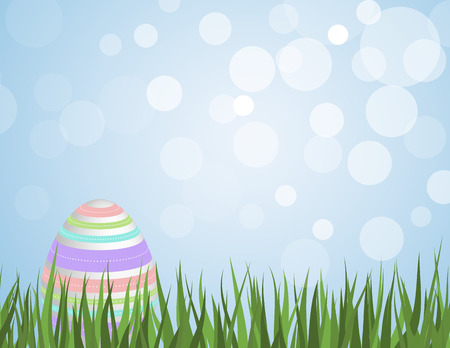Easter egg with colorful stripes sitting in grass with a bokeh sky background Vector