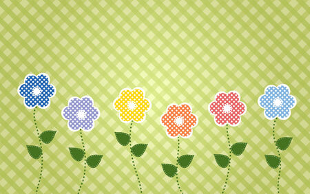 sewn: polka dot flowers with stiched leaves on a plaid background Illustration