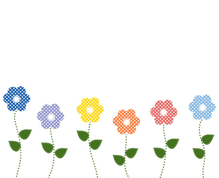 sewn: polka dot flowers with stitched leaves on isolated white background Illustration
