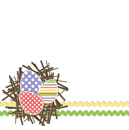 rick: Easter eggs in nest with rick rack on a white Illustration