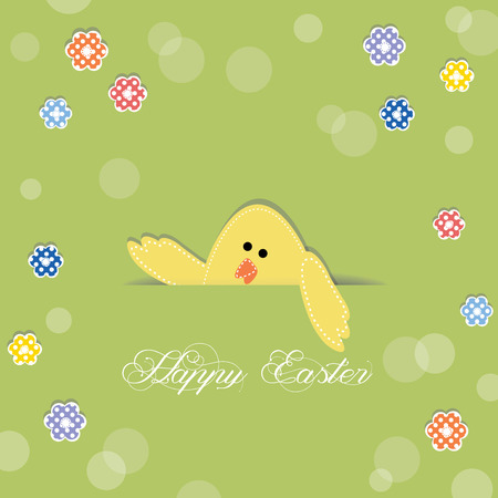 Easter chick sticking its head out of a cut in paper, decorated with flowers Vector
