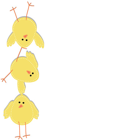 Three chicks stacked on top of each other, with a white background Illustration