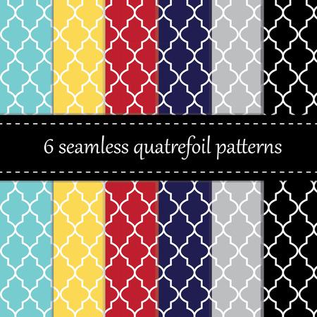 quatrefoil: Twelve seamless geometric patterns with quatrefoil, chevron and polka dot designs