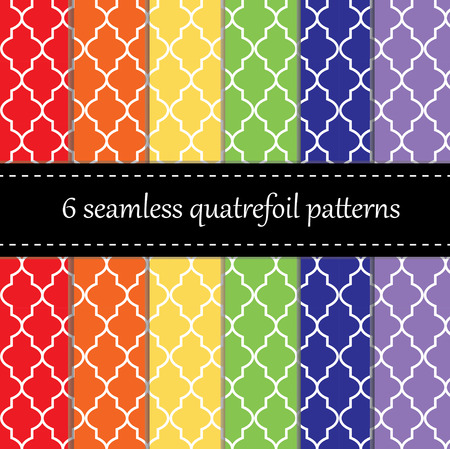 chevron seamless: Twelve seamless geometric patterns with quatrefoil, chevron and polka dot designs