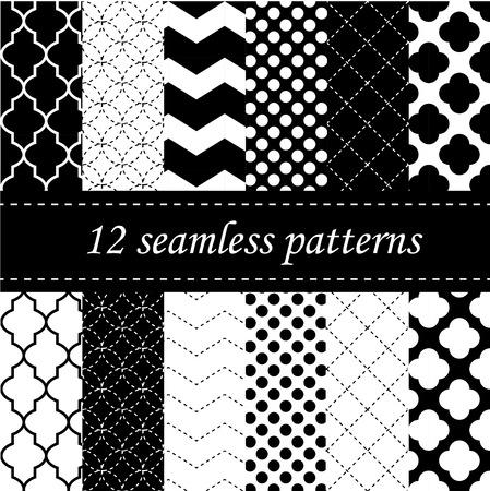quatrefoil, 갈매기와 물방울 무늬 디자인으로 열두 원활한 기하학적 인 패턴 일러스트