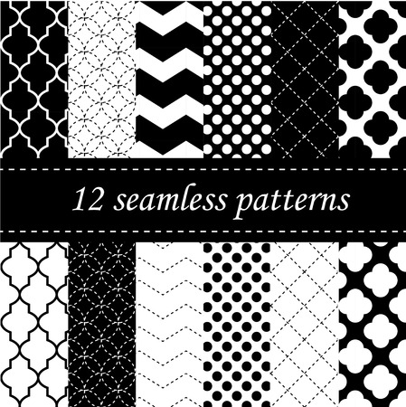 seamless geometric: Twelve seamless geometric patterns with quatrefoil, chevron and polka dot designs