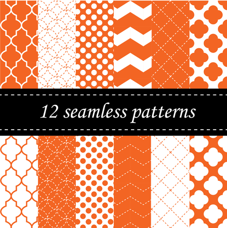 Twelve seamless geometric patterns with quatrefoil, chevron and polka dot designs