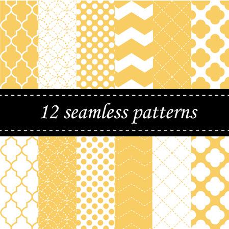 四葉、シェブロンと水玉模様で 12 のシームレスな幾何学的なパターン