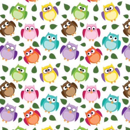 seamless owl pattern with leaves on a transparent background Vector