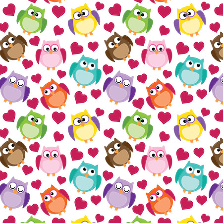 Seamless owl pattern with hearts, on a transparent background