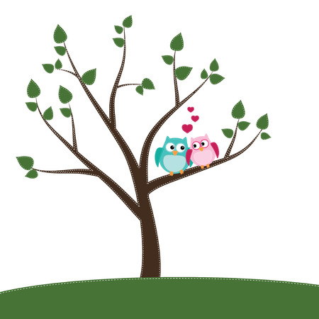 Two owls in love sitting on a branch of a tree on a transparent background Illustration