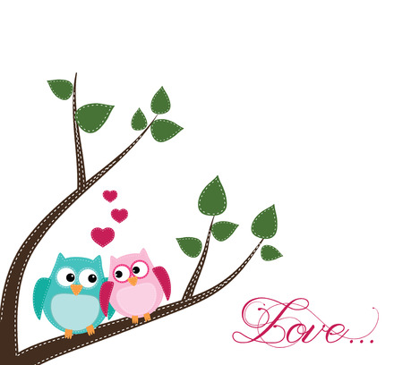Two owls in love sitting on a branch on a transparent background