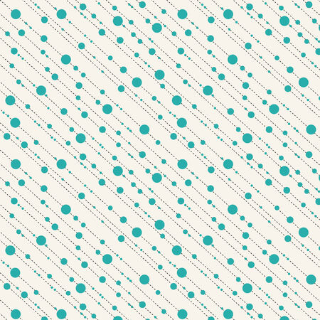 Diagonale punten en strepen naadloze patroon in turkoois en beige Stock Illustratie