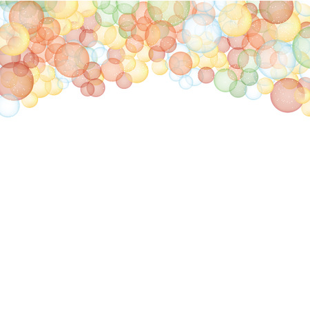 Multi-colored bubbles or bokeh framing top of page on transparent background Vector