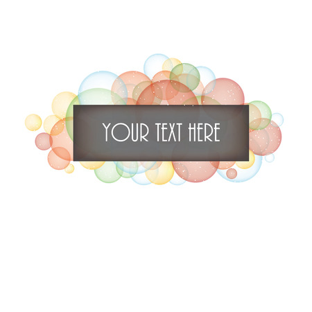 layered sphere: Multi-colored bubbles with box for text on a transparent background