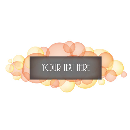 layered sphere: Orange and yellow bubbles with box for text on a transparent background