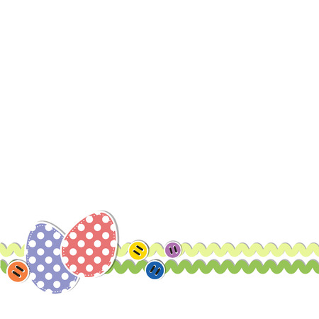 rick: Easter eggs with polka dots, decorated with rick rack ribbon and sewing buttons