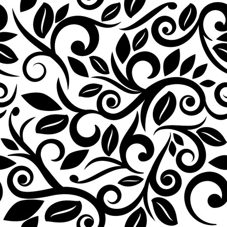 black and white or transparent seamless floral background square layout for scrapbooking, with vignette on separate layer Vector