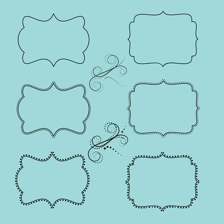 set of retro labels or frames and design elements for your events, scrapbooking or invitation designs vector format Vector