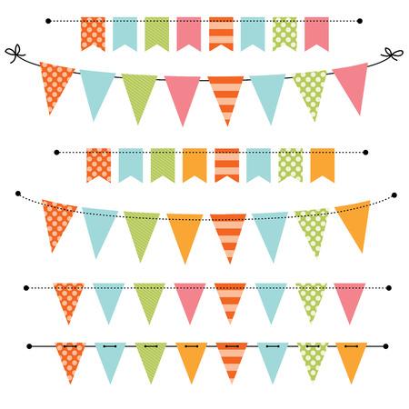 rayas de colores: Bandera en blanco, golpe ligero o Swag plantillas para �lbumes de recortes partes, primavera, Pascua, duchas y ventas de beb�, sobre fondo transparente, en formato vectorial