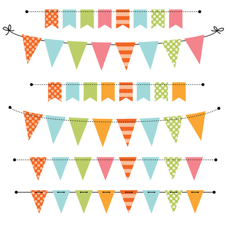 green flag: Blank banner, bunting or swag templates for scrapbooking  parties, spring, Easter, baby showers and sales, on transparent background, in vector format
