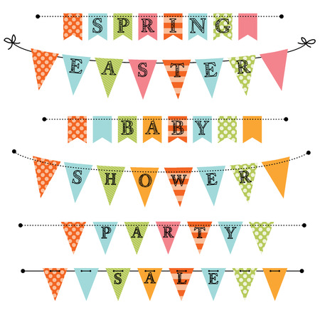 Banner, bunting or swag templates for scrapbooking  parties, spring, Easter, baby showers and sales, on transparent background, in vector format Vector