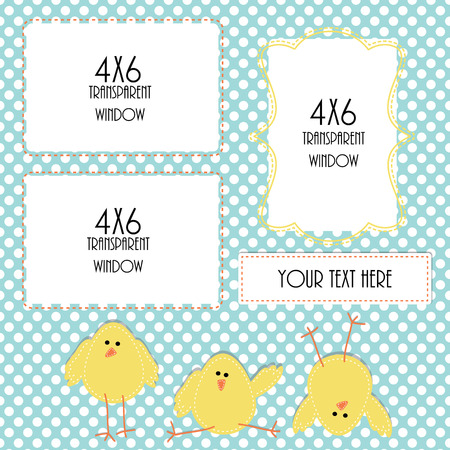 Easter or spring design template with three 4x6 transparent frames for your events, scrapbooking or invitation designs vector format