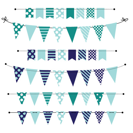 Blue blank banner, bunting or swag templates for scrapbooking  parties, spring, Easter, baby showers and sales, on transparent background, in vector format Vectores