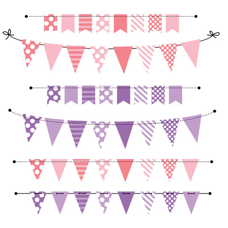 triangle flag: Pink and purple blank banner, bunting or swag templates for scrapbooking  parties, spring, Easter, baby showers and sales, on transparent background, in vector format