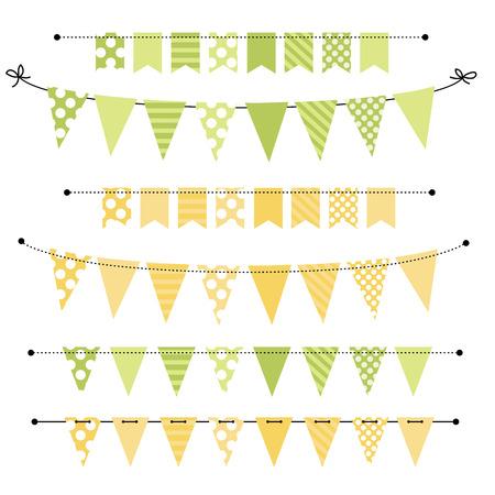 swag: Bandera en blanco verde y amarillo, golpe ligero o Swag plantillas para �lbumes de recortes partes, primavera, Pascua, duchas y ventas de beb�, sobre fondo transparente, en formato vectorial