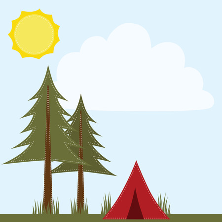 campsite: Camping scene with pine trees and tent 4x6  frames for photos,  12x12 square layout for scrapbooking