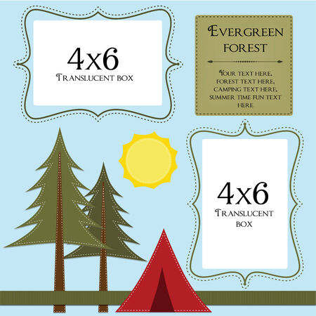 campsite: Camping template with pine trees and tent 4x6 translucent frames for photos,  12x12 square layout for scrapbooking