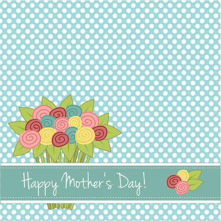Bouquet of roses on a seamless polka dot background with area for copy space, for mothers day or scrapbooking  Vector