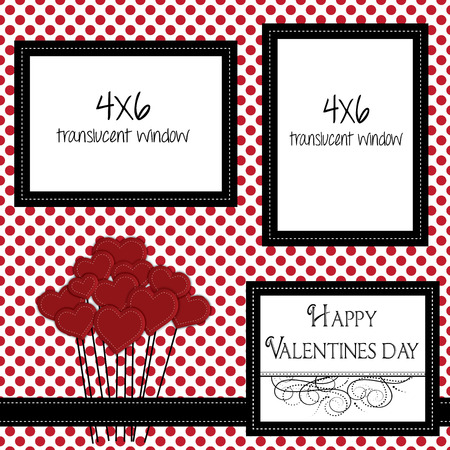 valentine scrapbooking template with heart balloons and 4x6 frames for photos or text, vector format.