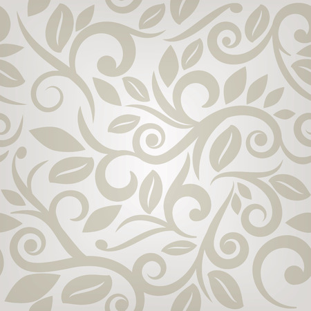 swirls vector: floral seamless pattern in beige and cream with swirls and leaves, vector format.