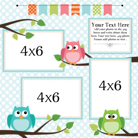 Owl scrapbooking template with banner or bunting and 4x6 frames for photos or text, vector format. Illusztráció